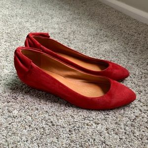 Madewell red leather bow kitten wedge heels
